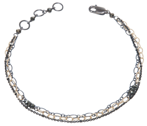 layering chain bracelet - oxidized silver and gold filled