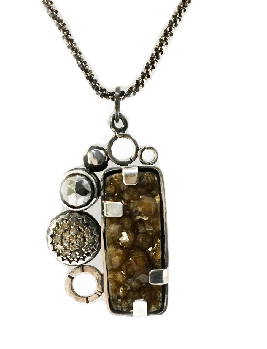 multi gem necklace - brown - sterling silver