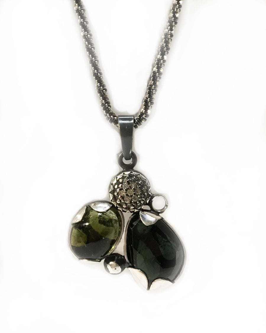 multi gem necklace - green - sterling silver