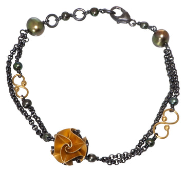 one flora bracelet - ox/gold