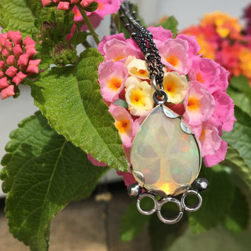 opal necklace - yellow white - sterling silver