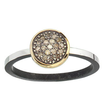simple pave diamond ring - 14k bezel 8mm stackable