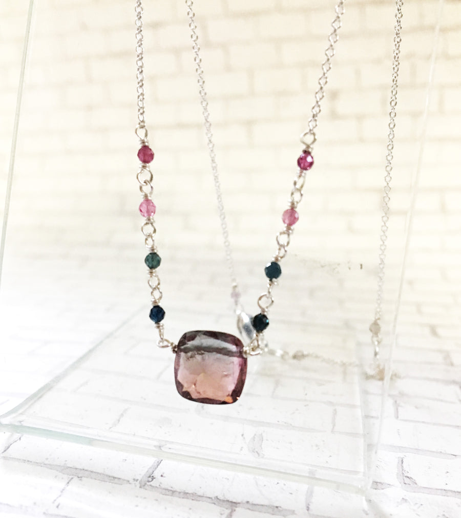Tourmaline necklace - faceted square Tourmaline with silver. blue and pink