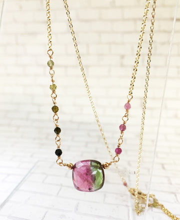 Tourmaline necklace - faceted square Tourmaline with gold-filled chain
