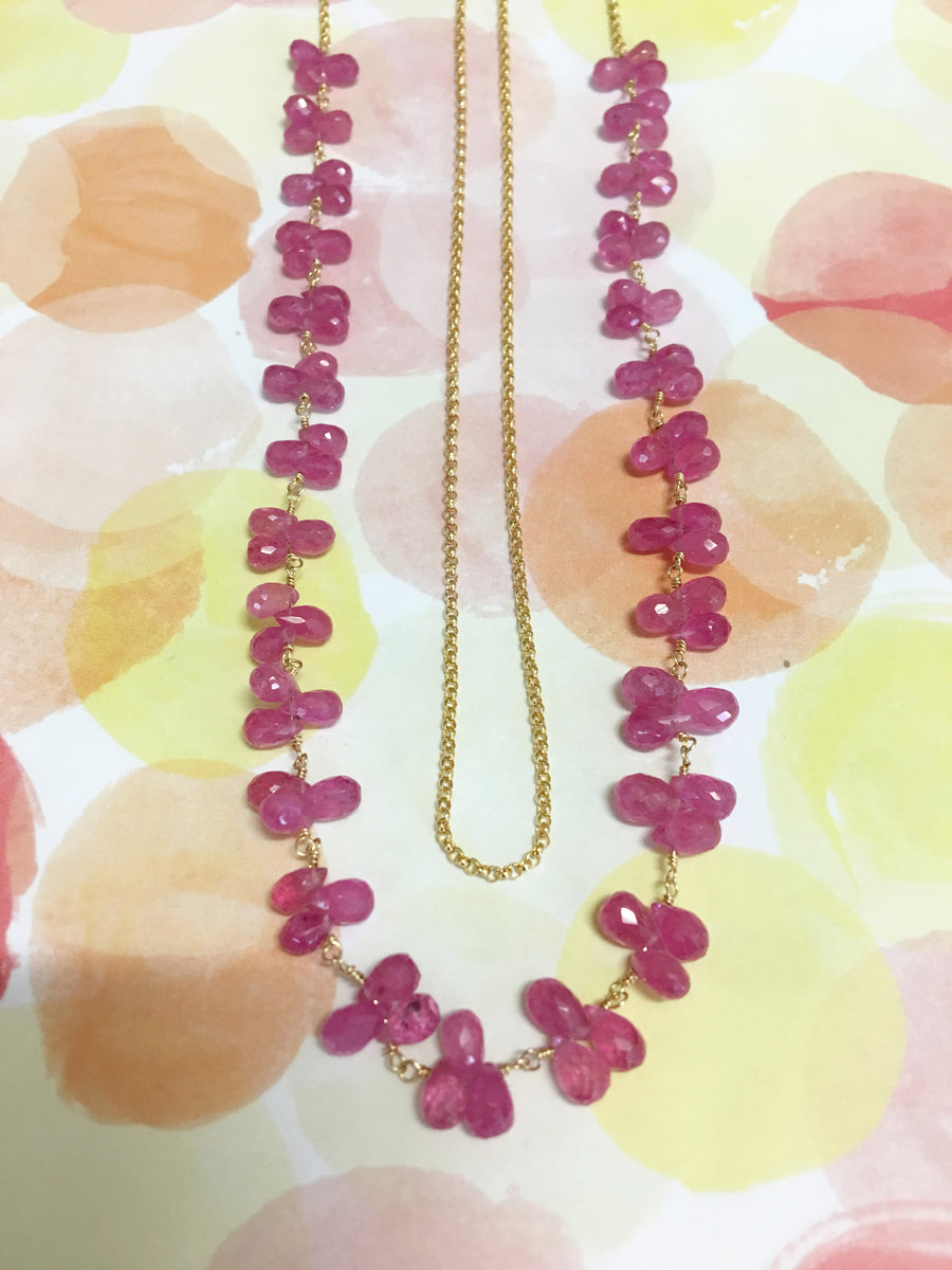 petal necklace - pink spinel briolettes with gold-filled chain