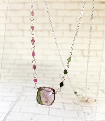 Tourmaline necklace - faceted square Tourmaline with silver. green and pink
