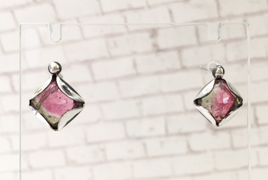 tourmaline post earrings - pink and olive - oxidized sterling silver