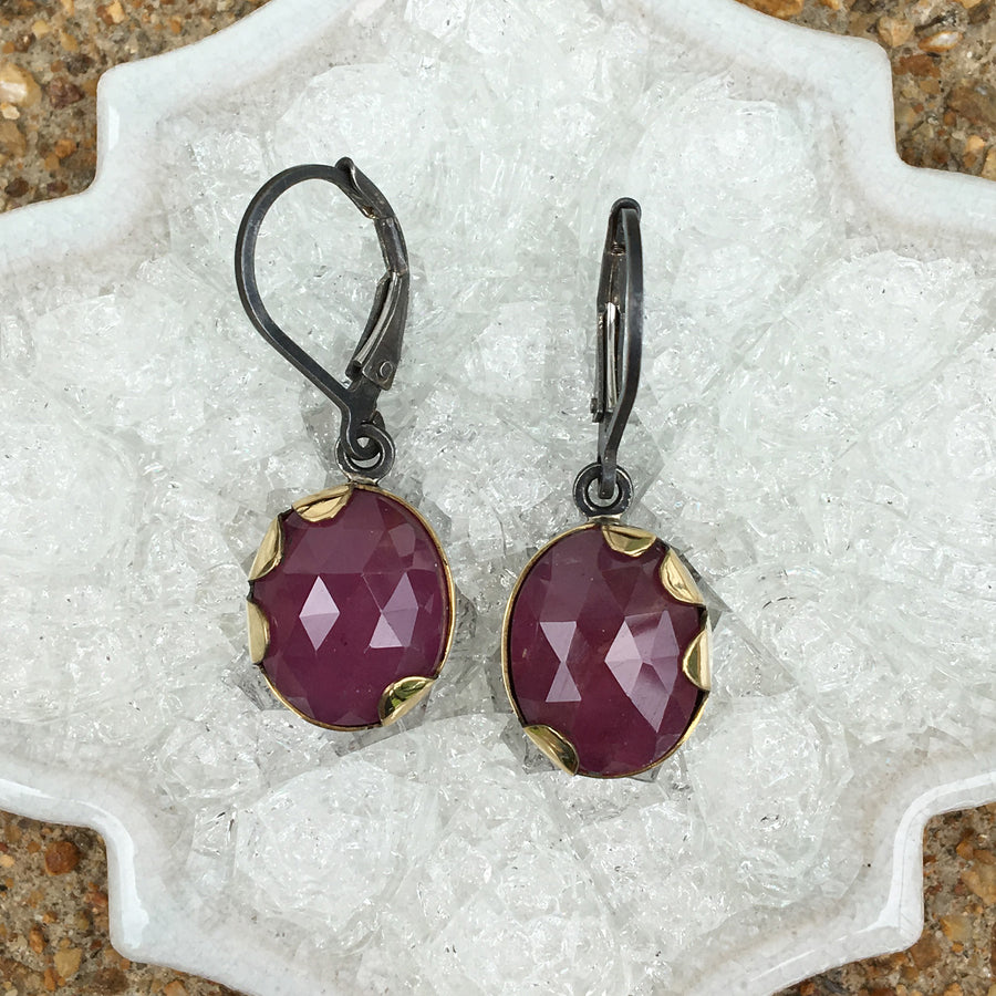 pink sapphire earrings - pink - 18k gold, oxidized sterling silver