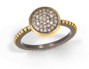 pave diamond ring - 14k bezel and 14k beaded band 10mm round