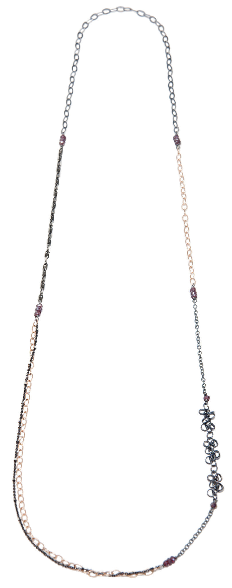 layering chain necklace - oxidized silver and rose gold filled
