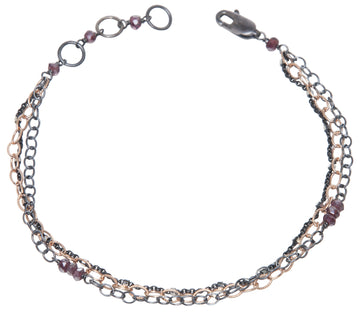 layering chain bracelet - oxidized silver and rose gold filled
