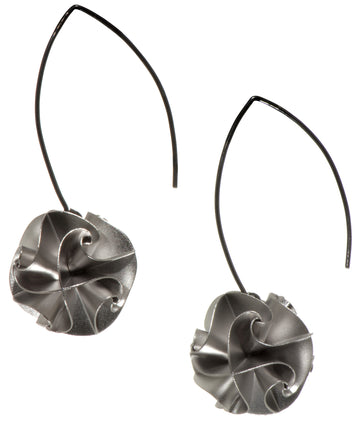flora drop earrings - silver large