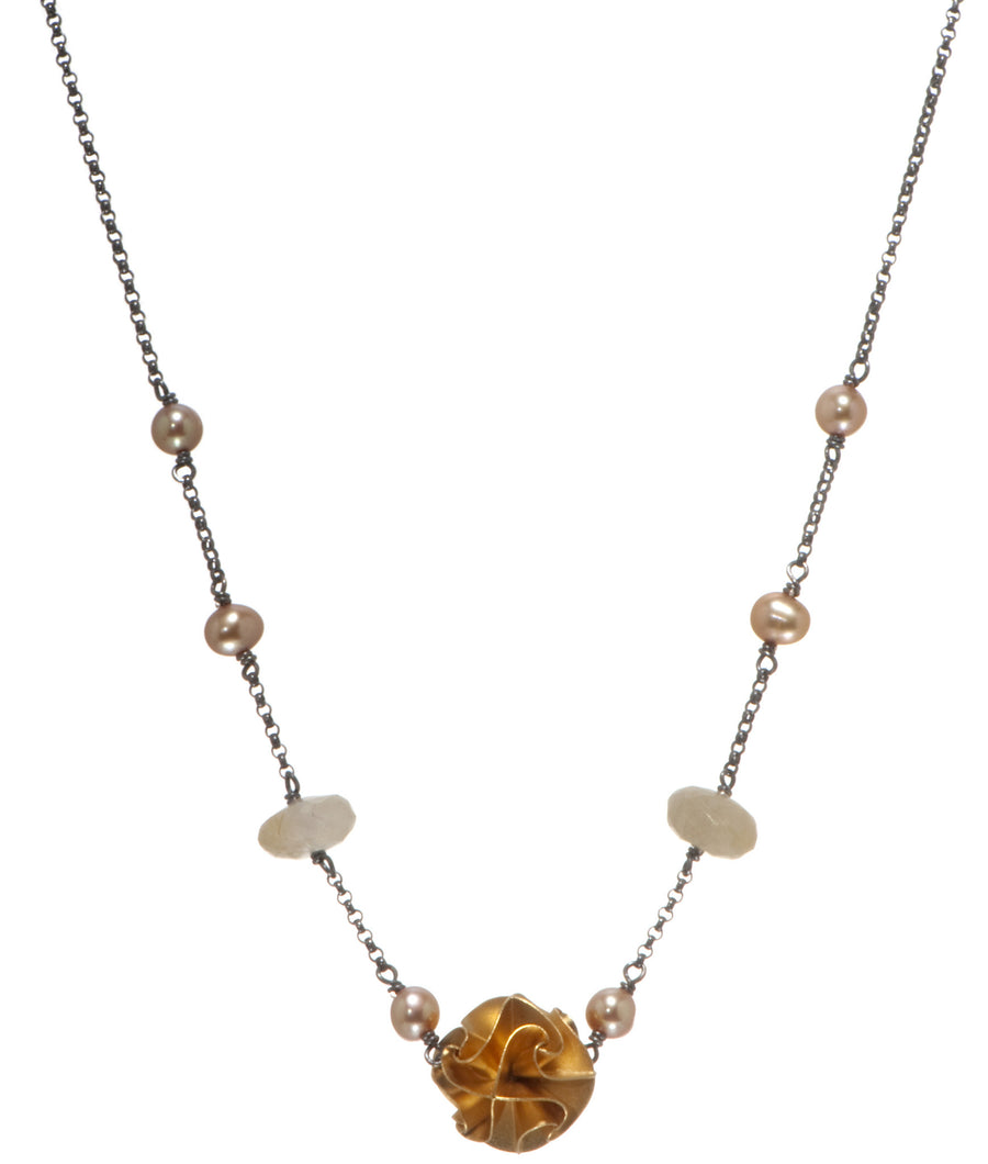1 bead flora necklace - gold