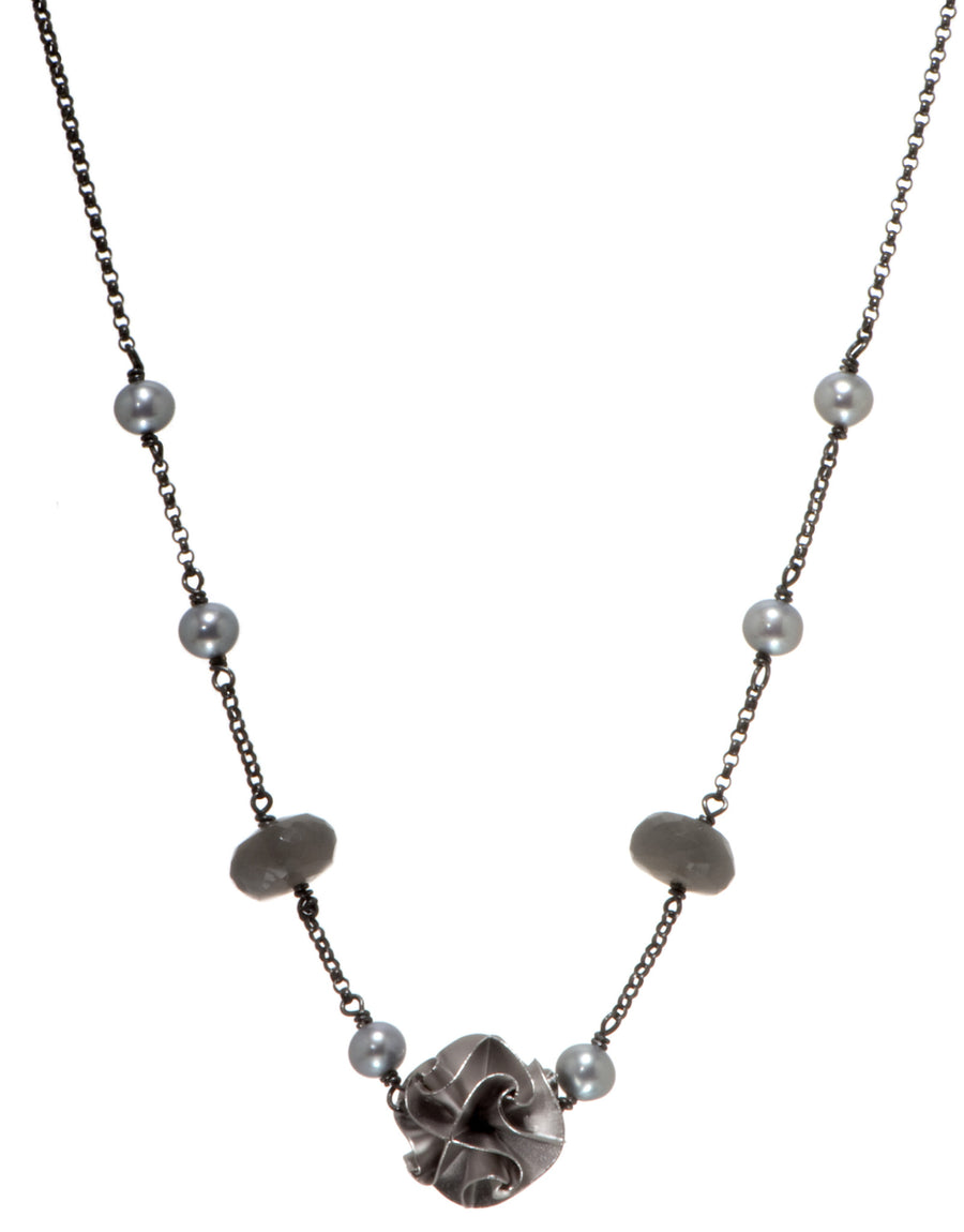 1 bead flora necklace - silver