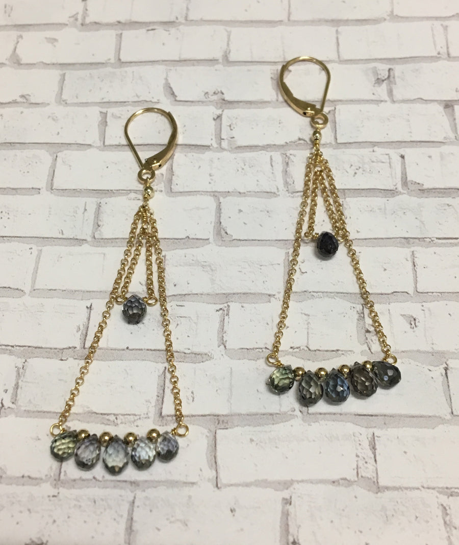 chain earrings - green sapphire briolettes with 14k yellow gold chain and lever backs