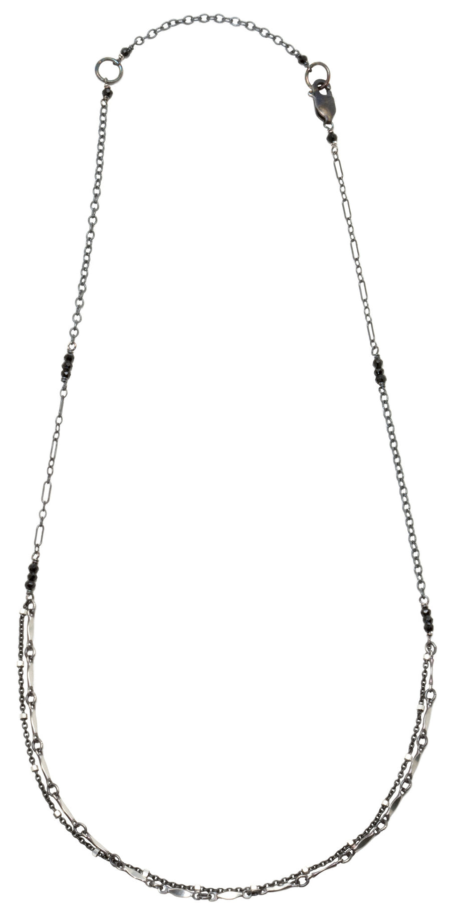 Layering chain necklace - oxidized silver