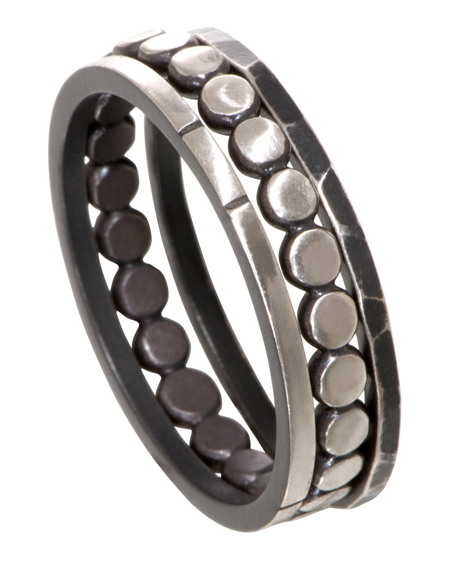 stackable ring - straight band with notches
