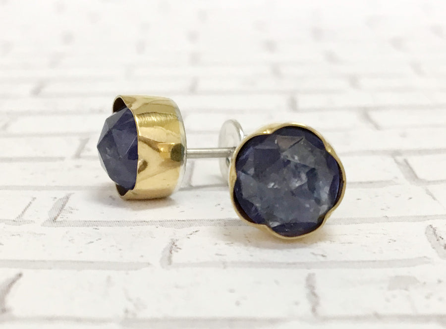 tanzanite post earrings - blue purple - 18k gold reverse petal bezel