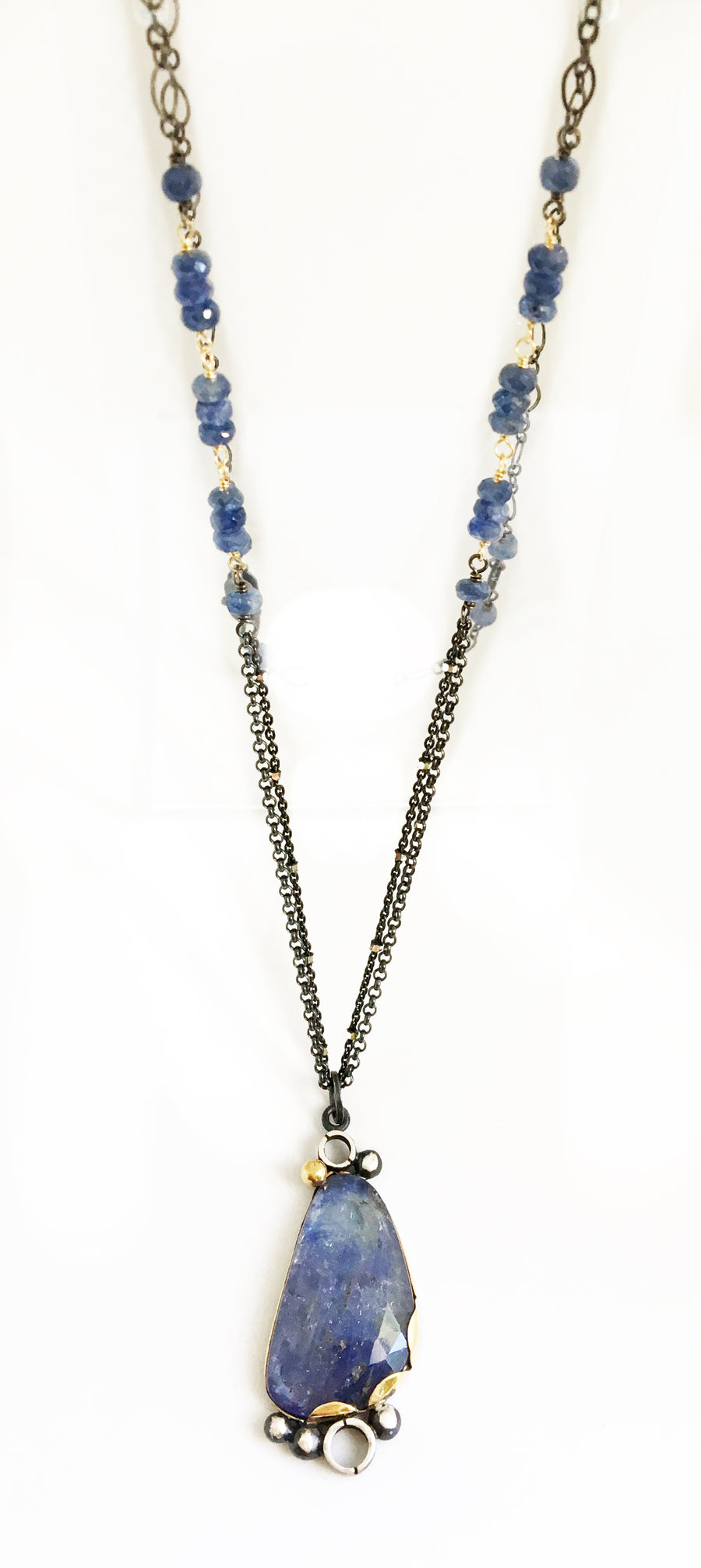 tanzanite necklace - blue - 22k gold and sterling silver