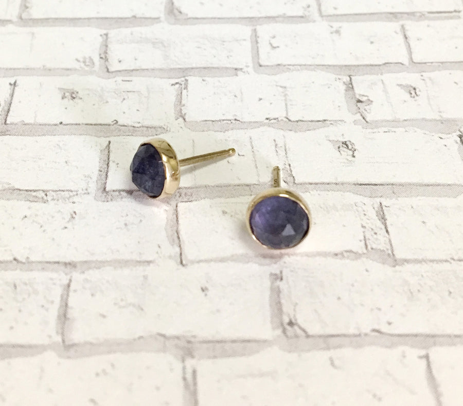 tanzanite post earrings - blue purple - 14k gold