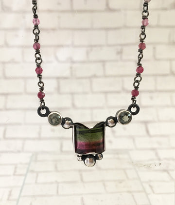 tourmaline necklace - watermelon square - sterling silver, green sapphire accents