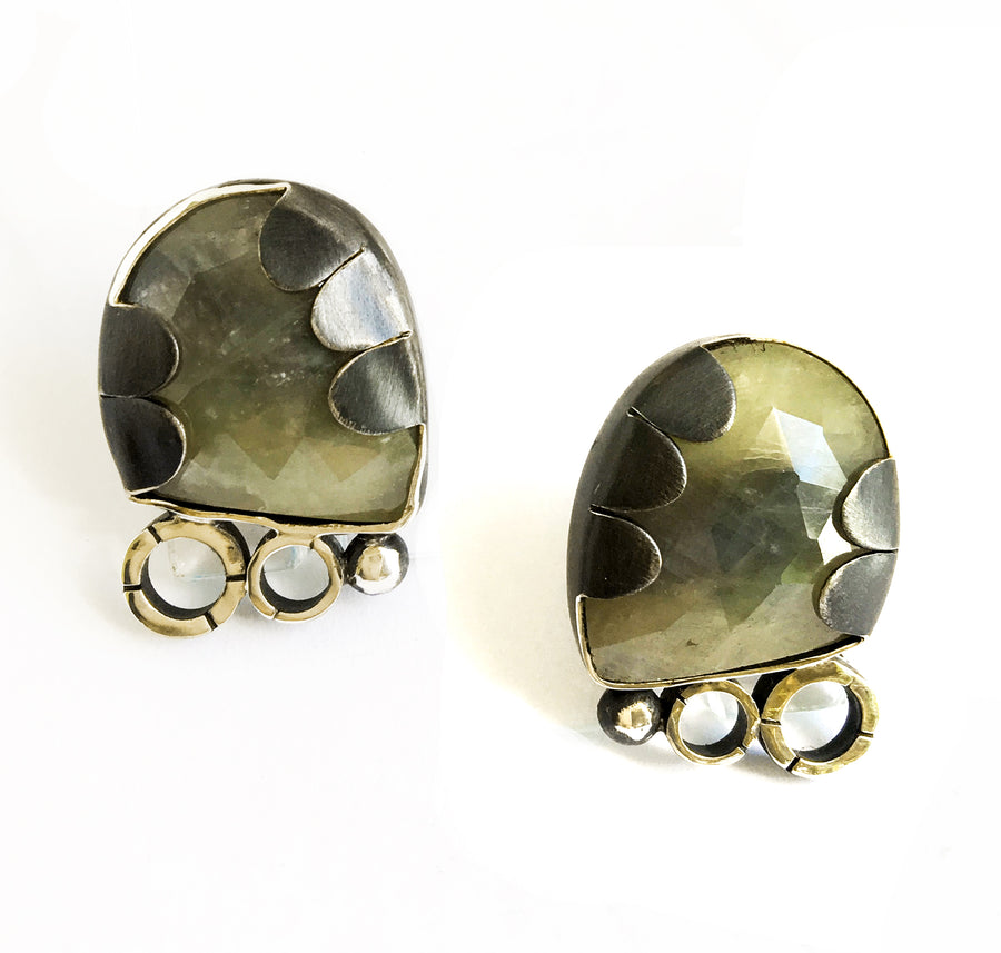 sapphire earrings -yellow green - posts - oxidized sterling silver