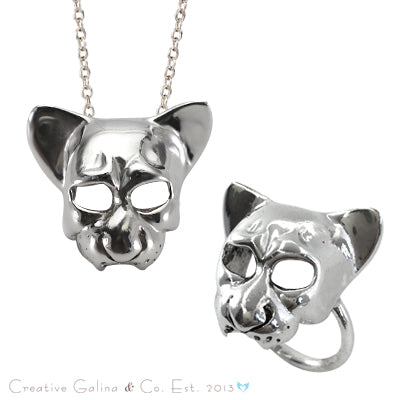 Necklace and ring set with silver skull of a wild animal made by Creative Galina.