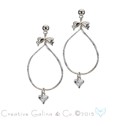 Drop of love silver earrings with bow and hearts