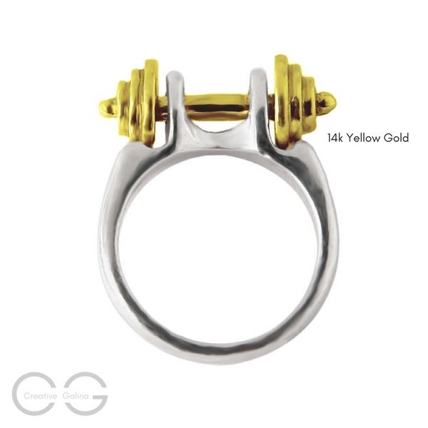 Two-Tone 14k Yellow Gold Dumbbell Jewelry Silver Ring