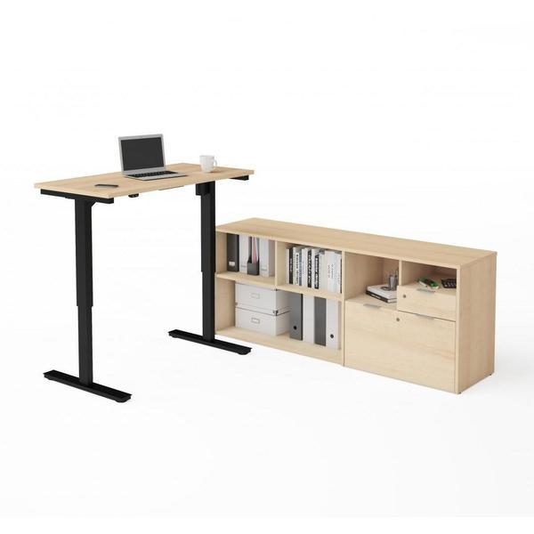 Desk - Bestar Electric Height Adjustable Standing Desk With Credenza