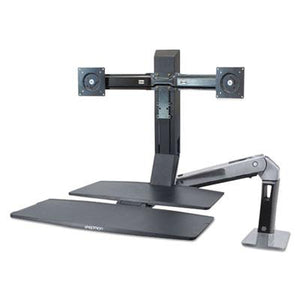 Desk - Ergotron WorkFit-A Sit/Stand Workstation For Dual Monitors In Black