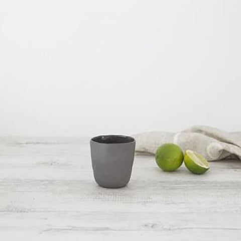 Ivory House | Flax Ceramic Short Coffee Cup in Charcoal Grey
