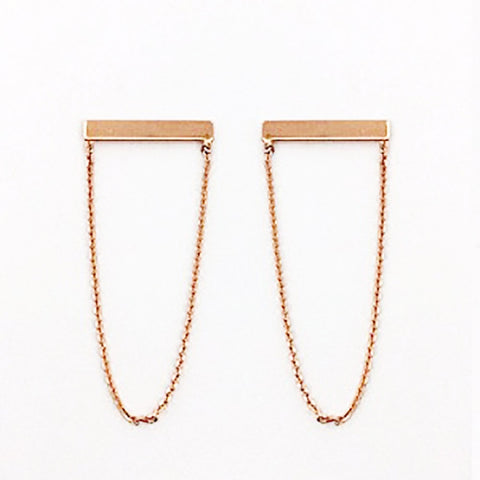 123home | Sterling Silver Rose Gold Plated Chained Bar Earrings