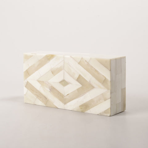 123home | White & Stained Bone Diamond Trinket Jewellery Storage Box
