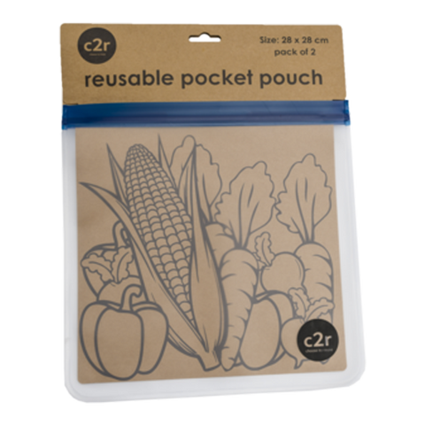 choose2reuse | Large Flat Food Ziplock Pocket Pouch Set/2 in Navy Blue