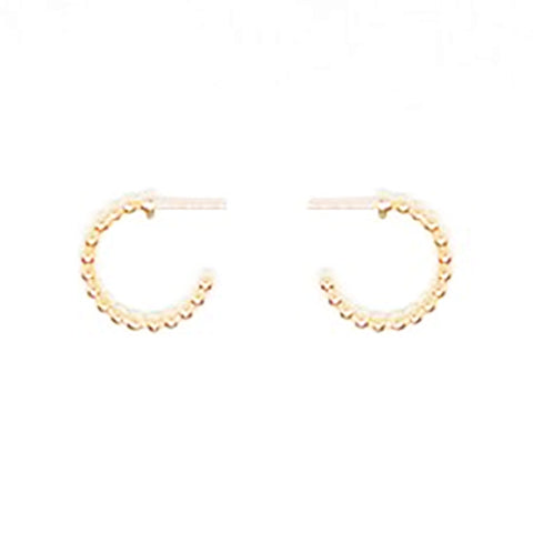 123home | Sterling Silver (925) Gold Plated Beaded Small Hoop Earrings