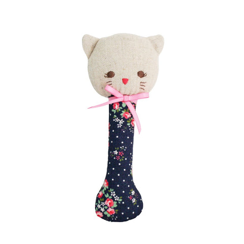 Alimrose Designs | Kitty Stick Rattle Toy in Midnight Floral