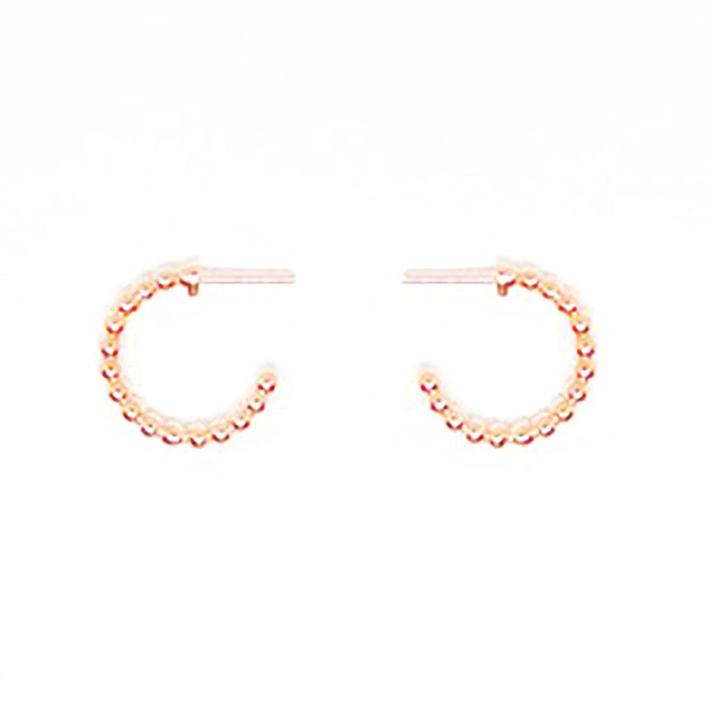 123home | Sterling Silver (925) Rose Gold Plated Beaded Small Hoop Earrings