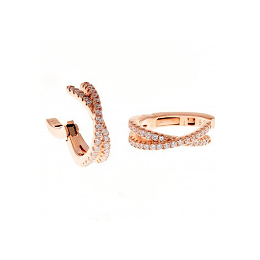 123home | Sterling Silver (925) Rose Gold Plated Crossed Sparkle Huggie Earring