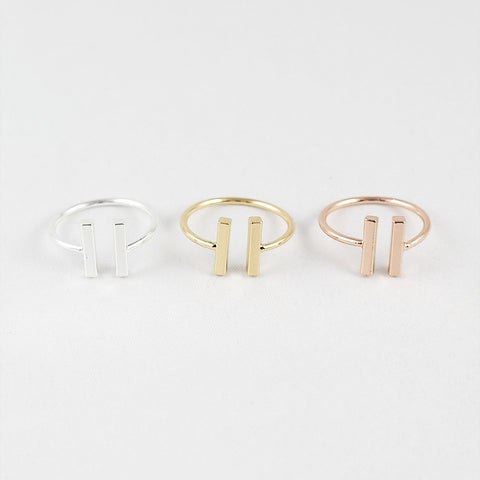 sophari | Parallel Ring in silver,  18k gold or rose gold plated