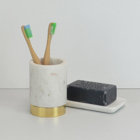 123home | Gold Brass Footed Marble Canister Vase