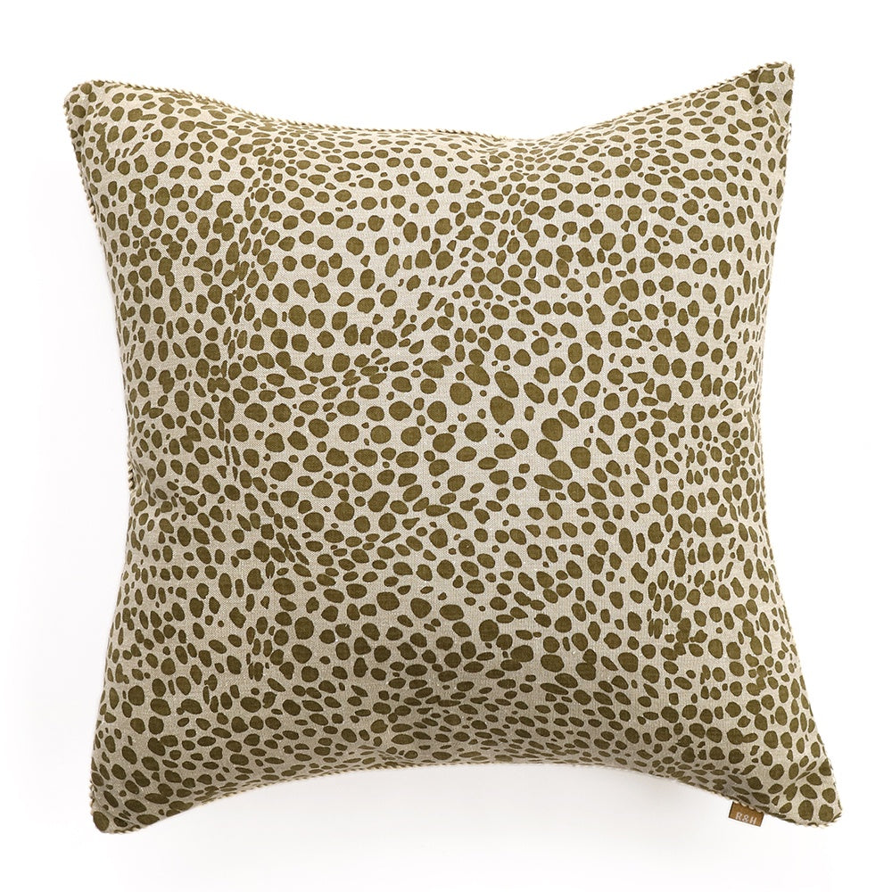 Raine & Humble | Animal Print Square Cushion with Feather Insert in Khaki Green