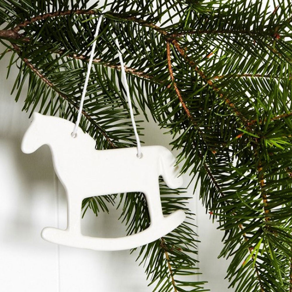 Ivory House | Matte Porcelain Hanging Rocking Horse Christmas Ornament Decoration