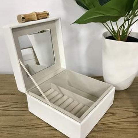 Ivory House | Grace Small Jewellery Box with Bamboo Handle in White
