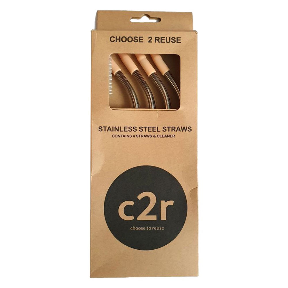 choose2reuse | Set/4 Stainless Steel Straws with Silicone Tips in Orange Peach