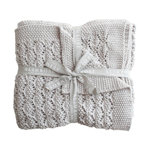 Alimrose Designs | Organic Heritage Knit Baby Blanket in Cloud Grey