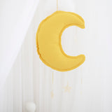 Alimrose Designs | Linen Moon Hanging Mobile Decor in Yellow Butterscotch
