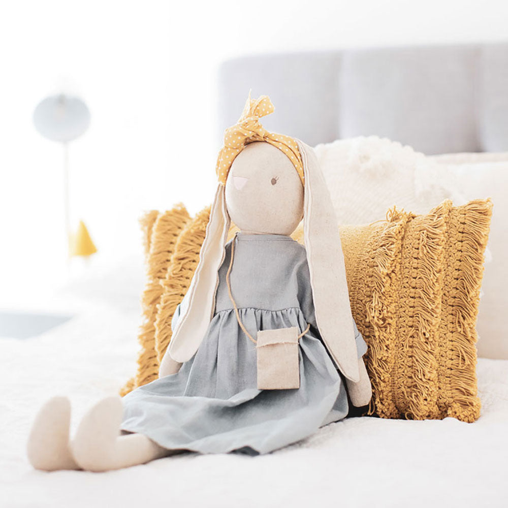 Alimrose Designs | Sofia Large Bunny Doll in Grey Linen