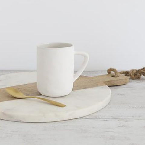 Ivory House | Flax Large Coffee Tea Mug in Snow White