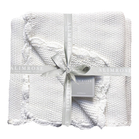 Alimrose Designs | Knit Mini Moss Stitch 100% Cotton Blanket in Ivory White